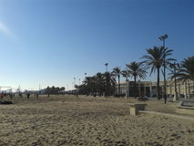 Het strand en de hemel in Spanje Stock Foto