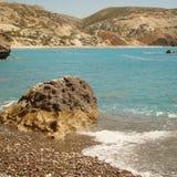 Het strand en de heuvels van Cyprus stock foto's