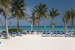 Het strand en de palmen van Mexico Royalty-vrije Stock Foto's
