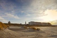 Het strand en de promenade van Borkum Stock Afbeelding
