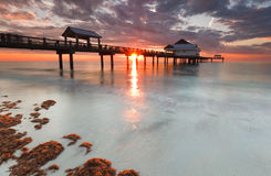 Het strand Florida, zonsondergang van Clearwater Stock Afbeelding