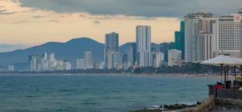 Het Strand Front Scene van Nha Trang Vietnam van de vakantietoevlucht royalty-vrije stock foto