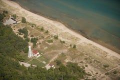 Het strand licht huis van het punt Stock Foto