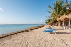 Het strand in Mahahual, Mexico Royalty-vrije Stock Foto