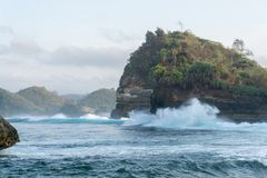Het Strand Malang Indonesië van Batubengkung Stock Afbeeldingen