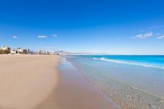 Het strand mooi Middellandse-Zeegebied van Alicante San Juan Royalty-vrije Stock Afbeeldingen