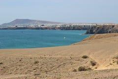 Het strand Playa Mujeres op Zuid-Lanzarote, Canarische Eilanden, Spanje Royalty-vrije Stock Afbeelding