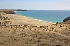 Het strand Playa Mujeres op Zuid-Lanzarote, Canarische Eilanden, Spanje Stock Fotografie