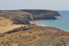 Het strand Playa Pozo op Zuid-Lanzarote, Canarische Eilanden, Spanje Stock Fotografie