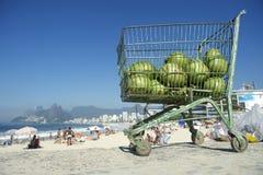 Het Strand Rio de Janeiro Brazil van kokosnotenipanema Stock Afbeeldingen
