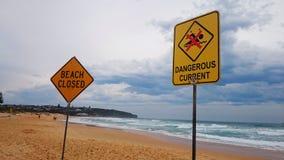 Het strand sloot Teken en Gevaarlijk Huidig Teken op Strand Stock Foto's