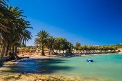 Het strand van Agiairini, Paros-eiland, Griekenland Stock Foto's