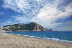 Het strand van Alanya stock foto's