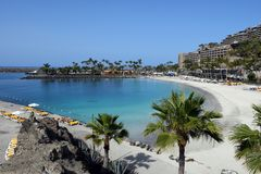 Het strand van Anfi fel Mst, Eiland Gran Canaria, Spanje Stock Fotografie