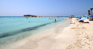 Het strand van Ayianapa, Cyprus Stock Afbeelding