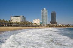 Het strand van Barceloneta Stock Foto's