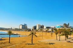 Het Strand van Barceloneta in Barcelona, Spanje Stock Foto