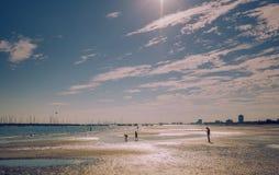 Het strand van Brighton in Melbourne op 26 Maart 2017 stock foto