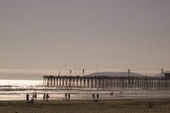 Het strand van Californië bij zonsondergang Royalty-vrije Stock Afbeeldingen