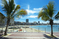 Het strand van Canteras, Las Palmas DE Gran Canaria, Spanje stock afbeeldingen
