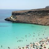 Het strand van Conigli van Isoladei in Lampedusa royalty-vrije stock fotografie