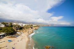 Het Strand van Costa del Sol in Nerja Stock Foto's