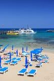 Het strand van Cyprus Stock Afbeeldingen