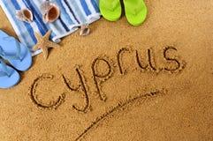 Het strand van Cyprus het schrijven Stock Afbeeldingen