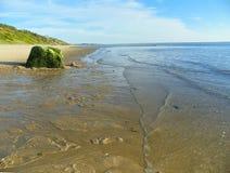 Het strand van de Atlantische Oceaan met zeewier behandelde kei op een kalme blauwe hemeldag Stock Foto