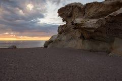 Het strand van de beeldhouwwerken bij dageraad in Almeria Royalty-vrije Stock Afbeelding