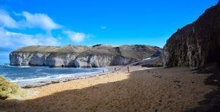 Het strand van de Bridlingtonkust en overzeese kust Stock Fotografie