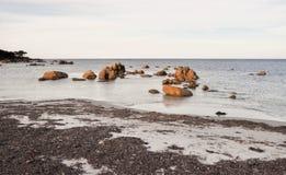 Het Strand van de bunkerbaai met de Vormingen van de Granietrots stock foto