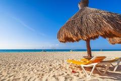Het strand van de Caraïbische Zee in Playa del Carmen Royalty-vrije Stock Foto