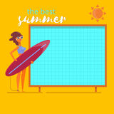 Het strand van de de achtergrond zomervakantie affiche Vlakke vectorillustratie van het zomer de reizende malplaatje Stock Fotografie