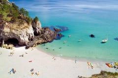 Het strand van de droom in Bretagne Stock Foto's
