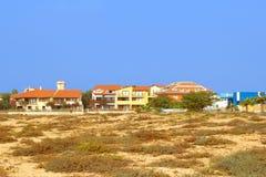 Het strand van de luxehuizen van de panoramamening, Santa Maria, de Eilanden van Kaapverdië Stock Foto