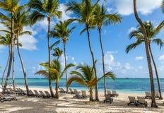 Het strand van de luxetoevlucht in Punta Cana Stock Afbeeldingen