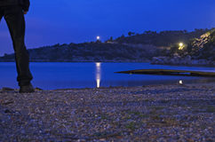 Het strand van de nacht Stock Foto's