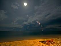 Het Strand van de nacht Stock Foto