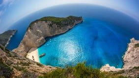 Het strand van de Navagioschipbreuk - Één van het beroemdste strand in wo Stock Fotografie
