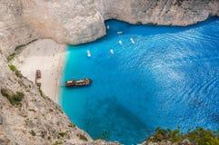 Het strand van de Navagioschipbreuk - Één van het beroemdste strand in wo Stock Afbeeldingen