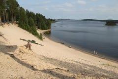Het strand van de rivierarcus van Luleå Royalty-vrije Stock Foto