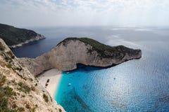 Het strand van de Schipbreuk, Eiland Zakynthos, Griekenland Royalty-vrije Stock Foto