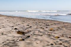 Het Strand van de Staat van Cardiff met Stenen en Surfers stock afbeelding