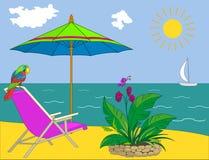 Het strand van de toevlucht royalty-vrije illustratie
