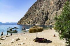 HET STRAND VAN DE VLINDERvallei, TURKIJE - JUNI 01 Stock Afbeelding