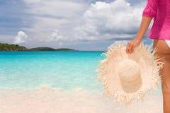 Het strand van de vrouw Stock Foto
