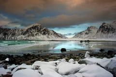 Het strand van de winter Stock Foto