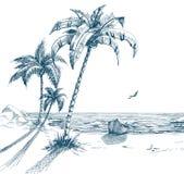Het strand van de zomer royalty-vrije illustratie