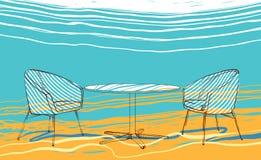 Het strand van de zomer Stock Afbeeldingen